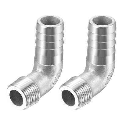 2pcs 304 Stainless Steel Hose Barb Fitting Elbow 16mm x G3/8 Male Pipe Connector