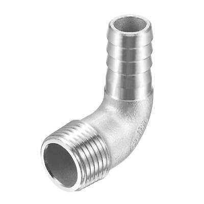 304 Stainless Steel Hose Barb Fitting Elbow 15mm x G1/2 Male Pipe Connector