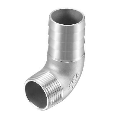 304 Stainless Steel Hose Barb Fitting Elbow 33mm x G1 Male Pipe Connector