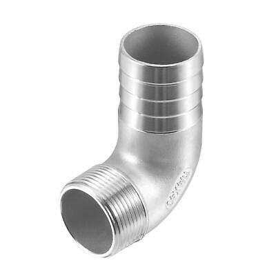 304 Stainless Steel Hose Barb Fitting Elbow 40mm x G1-1/4 Male Pipe Connector