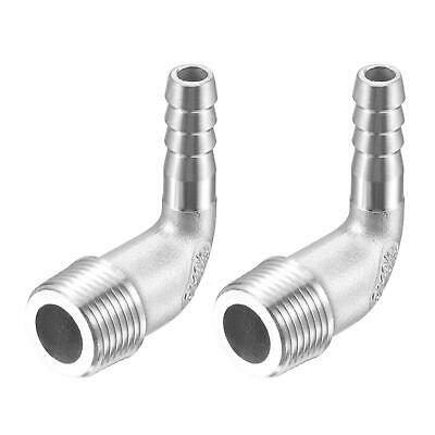 2pcs 304 Stainless Steel Hose Barb Fitting Elbow 8mm x G3/8 Male Pipe Connector