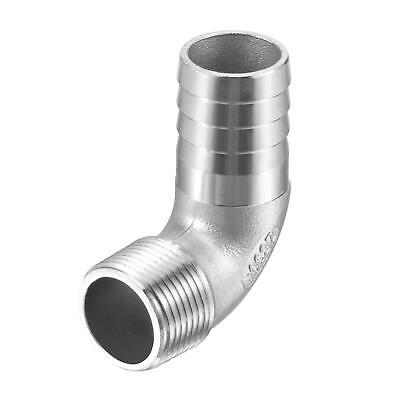 304 Stainless Steel Hose Barb Fitting Elbow 25mm x G3/4 Male Pipe Connector