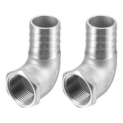 2pc Stainless Steel Hose Barb Fitting Elbow 25mm x 3/4 NPT Female Pipe Connector