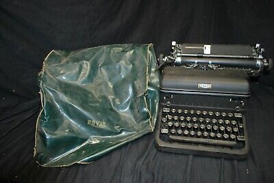 Vintage Royal 4 Bank Glass Key Model 14 Manual Typewriter With Cover-A5