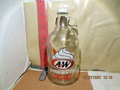 A&W Half Gallon Glass Jug - 2017 , Made By Arkansas Glass Company - No Damage!