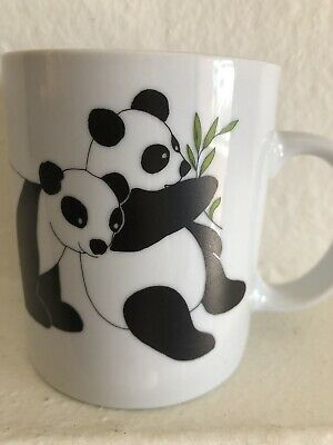 PANDAS on Coffee Mug Tea Cup Hand Painted Artist Signed by MARY CARR
