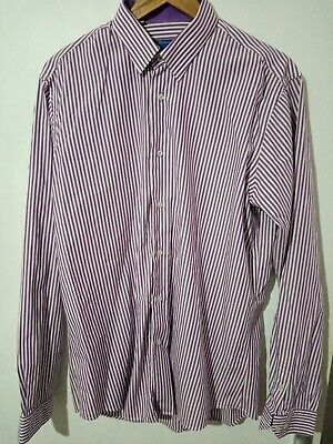 "Men's Size UK 16"" collar Purple Striped Shirt"