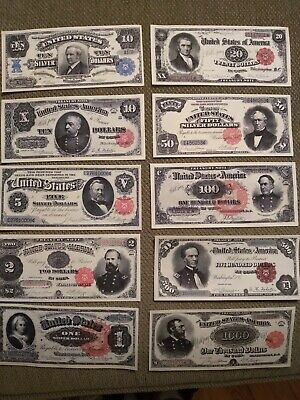 Reproductions,1890-1891 $1,$2,$5,10,10,20,50,100,500,1000 /10 notes/see pics
