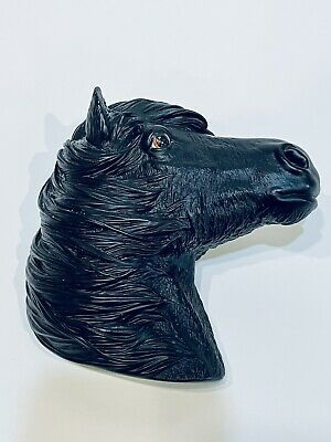 Vintage Horse Head Wall Hanging Bossons Fraser Art 3D Plastic Black