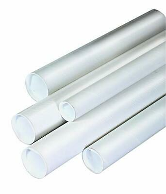 """Tape Logic TLP2036W Mailing Tubes with Caps 2"""" x 36"""" White Pack of 50"""