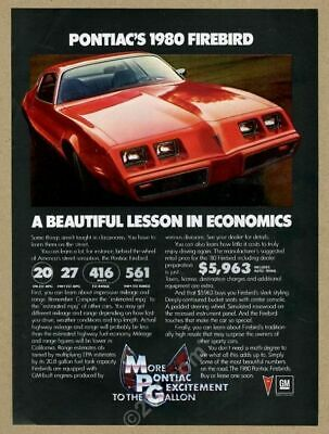1980 Pontiac Firebird red car photo vintage print ad