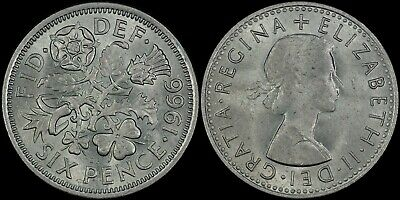 Great Britain 6 Pence 1966 (Unc/Bu) *Nice Coin*