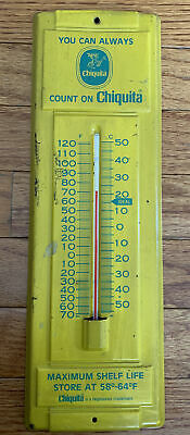 "Old Vintage 14"" tall Chiquita Bananas Tin Thermometer"