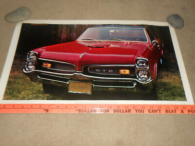 1967 PONTIAC GTO HARDTOP COUPE ORIGINAL 13.5 x 24 SHOWROOM POSTER / '67 BROCHURE
