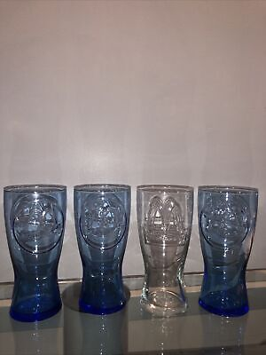 1961 McDonalds Blue Glasses Set Of 3 1 1992 Clear Glass Collectible! Coke Mint