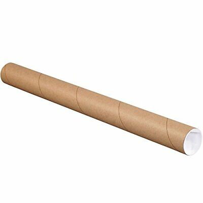 """BOX USA BP2026K Mailing Tubes with Caps 2"""" x 26"""" Kraft Pack of 50"""