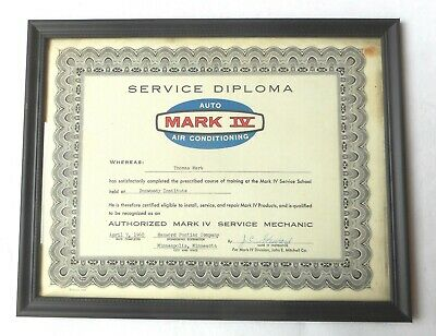 1960 Pontiac  Mark Iv A/C Service Dealer  Diploma Original Gm