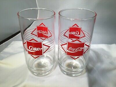 Coca-Cola Coke INDIANA GLASS GLASSES SET /2 MATCHED PAIR RED LOGOS NWT OLD ART