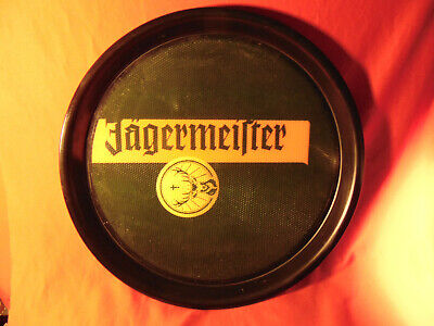 """14 1/2"""" Round Plastic Bar Tray, with Jagermeister Advertising On It."""