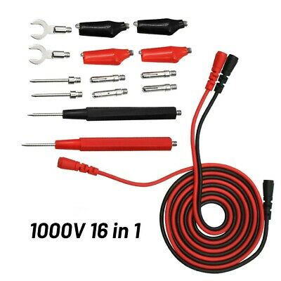 1000V Multimeter Test Leads 16pc Set Suitable For Card Slot 4mm Multimeter 16pcs