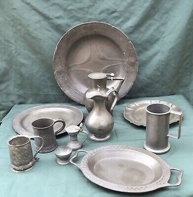 Antique Pewter Job Lot Charger,Dishes,Jugs,Tudric Dish ,Tankards Aesthetic C1880