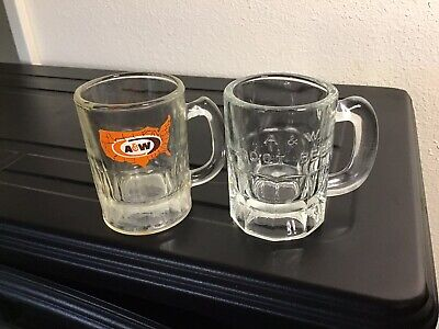 Vintage Mini Baby A & W Root Beer Mugs words embossed and orange state decal
