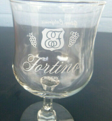 vintage Fortino Winery wine glass Gilroy California 6""
