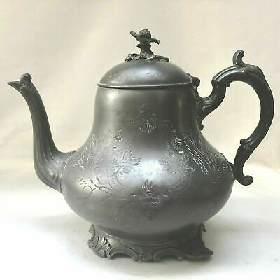 Antique Victorian Ornate Engraved Pewter Teapot, Traditional Kitchenalia