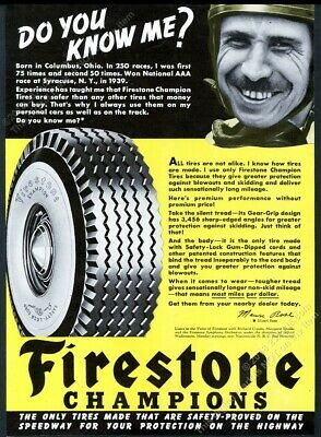 1940 Mauri Rose photo Firestone tires vintage print ad