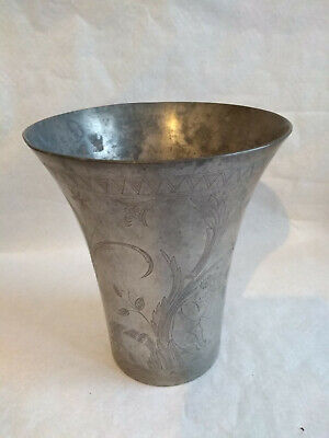 Antique Large Pewter Vase, 21 Cms High Engraved....marked Stockholm