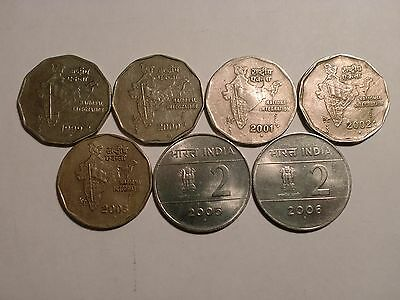 "- India Coins Lot Of 7  X  ""Rupees Two"" Coins(1999-2006) - Two Designs # P/7Ab/9"