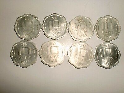 "- India - 8  X "" 10 Paise ""  Old  Coins -Odd-Shape - Rare - 1983 - 1991 # 7Ee"