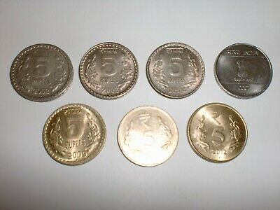 "India Coin Lot Of: 7 X  ""Rs. 5"" Old&New Coins-4 Design-Thick&Heavy-2002-2012#5Fx"
