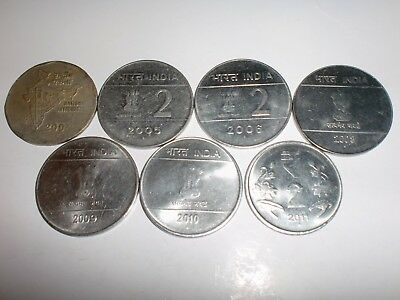 "- India Coin Lot - 7  ""Rs.2/-""  -Old & New -Big&Heavy - 4 Designs-2003-2011# 7P7"