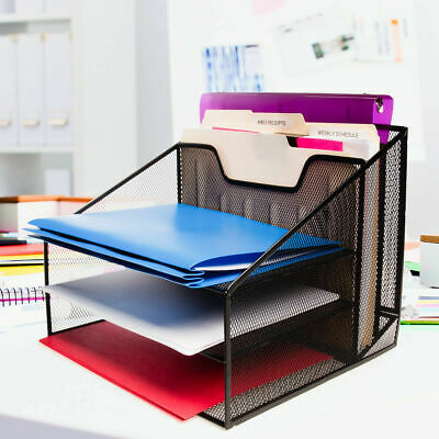 Mesh Desk Organizer 3 Tier File Letter Tray For Home Office
