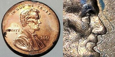 2001 - Dbl Profile - Xlg Broadstruck - Lincoln Cent Major Mint Error #10994