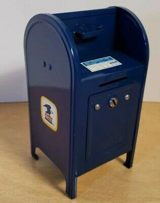 Vintage Blue Metal US Mailbox Coin Piggy Bank with Key Western Stamping USPS