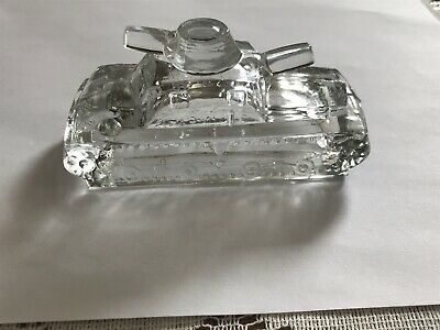 """WW1 Army Tank Candy Container Victory Glass Co. Jeanette PA 4 1/4"""""""