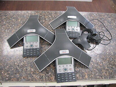 Lot of (3) Cisco 7937 IP Conference Stations CP-7937G with (2) Microphones
