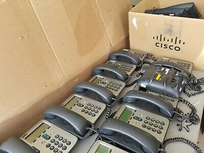 Lot of 15 Cisco 7912 Series IP Phones with handset and cord. Read description