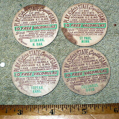 1950s Sifer's Valomilk Candy State Capitals Game Caps / MINN. KANS. OHIO N. DAK