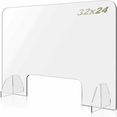 Plexiglass Sneeze Guard,32 Wx24 H Protective Freestanding Shield For Counter