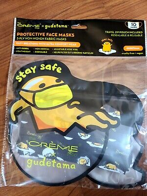 Details about  /Gudetama Handmade Face Mask Adult Size 3 layer fabric Sanrio Lazy Egg