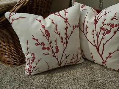 Laura Ashley Designer Cushion Cover PUSSY WILLOW Cranberry Fabric Various Sizes