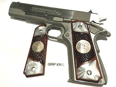 GRIP KING 1911 PISTOL GRIPS,GENUINE U.S.MINT BUFFALO NICKELS FITTED IN SAMBAR STAG FAUX.