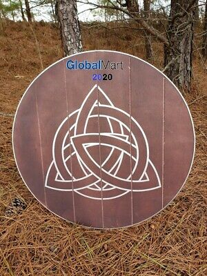 Viking Knights Celtic Knot Triquetra Circle Shield Wooden Round Functional Norse