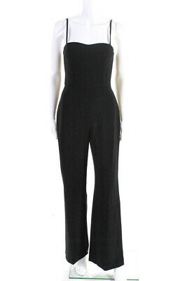 French Connection Womens Sleeveless Square Neck Tapered Jumpsuit Black Size 6