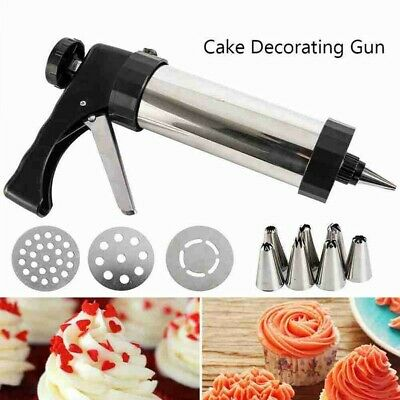 Stainless Steel 16pcs Biscuit Cookie Icing Cake Decorating Gun Set Piping I0R4