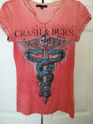 CRASH and BURN White embellished Wings T-Shirt NWT Small