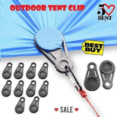 1//10pc Awning Tarp Clamp Set Tent Clips Hangers Survival Emergency Grommet
